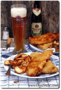 Smażona ryba z pieczonymi ziemniakami i piwem Paulaner