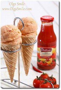 Lody z sokiem pomidorowym