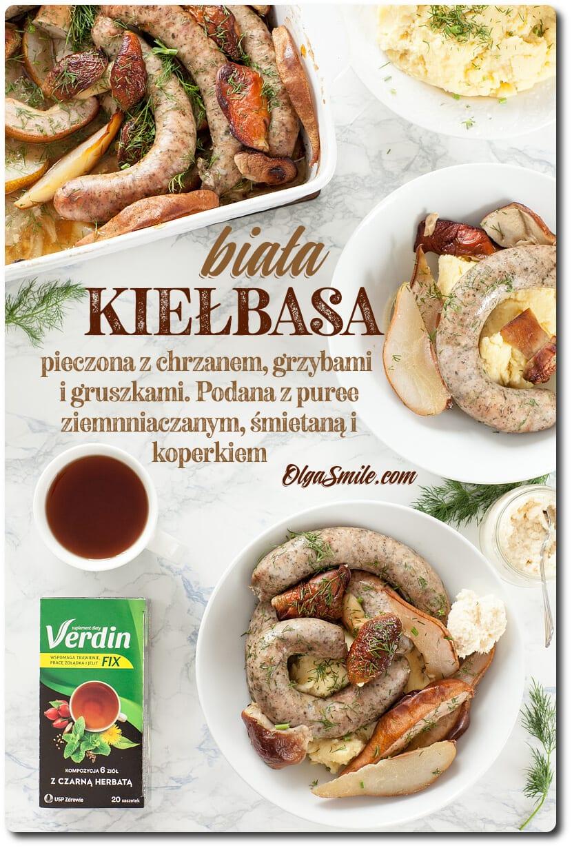 Biała kiełbasa pieczona z grzybami podana z herbatką Verdin fix z czarną herbatą