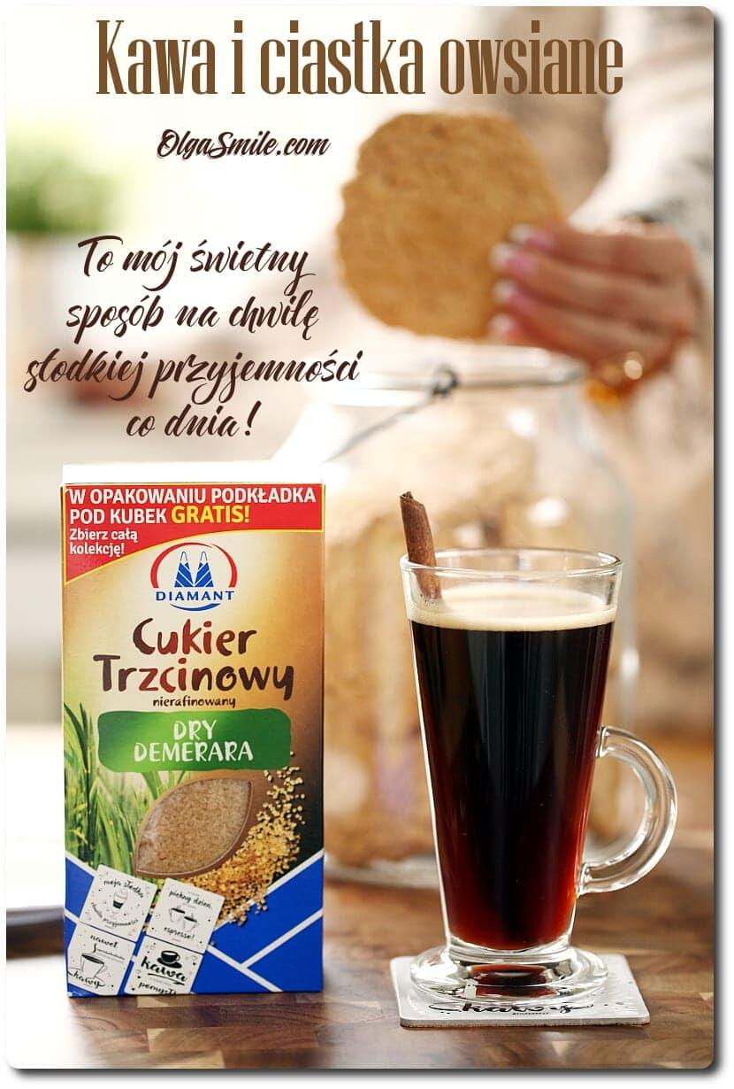 Kawa i ciastka owsiane z cukrem Dry Demerara