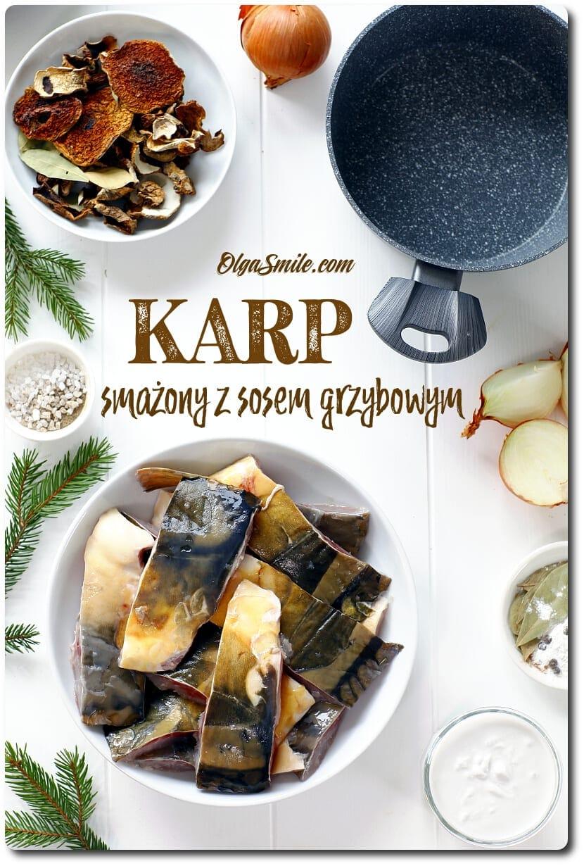 Karp smażony z sosem grzybowym