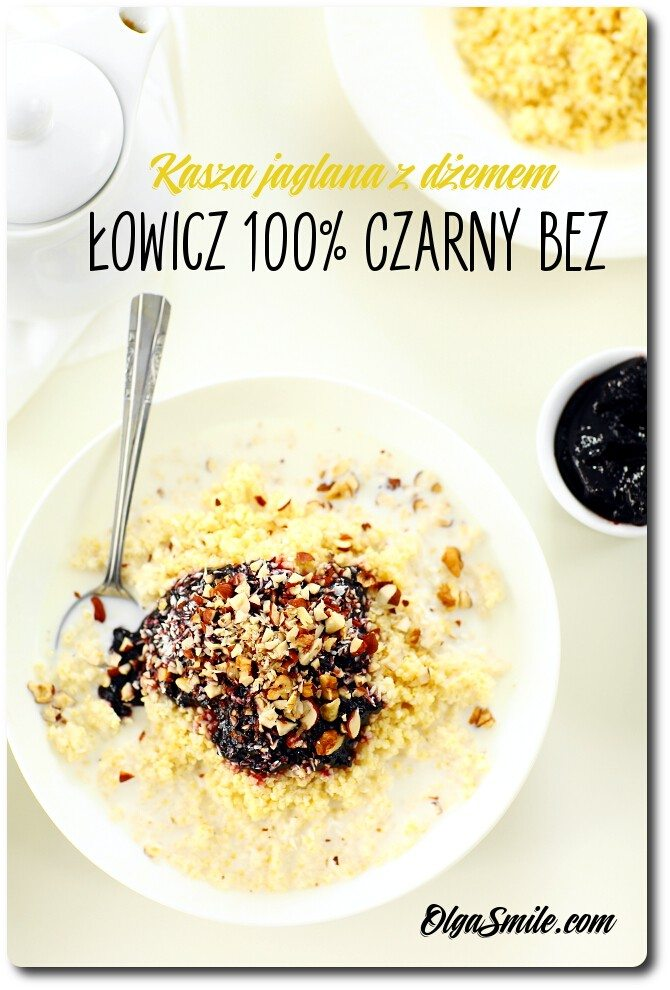 Kasza jaglana z dżemem Łowicz 100% z owoców Czarny bez