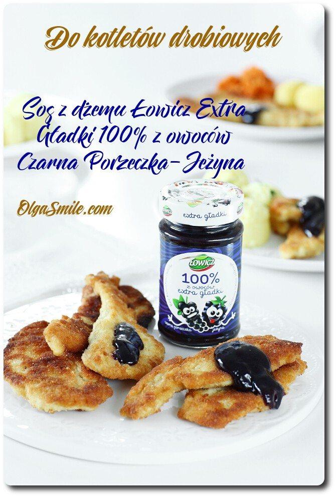 Sos z dżemu Łowicz Extra Gładki 100% z owoców Czarna Porzeczka-Jeżyna do kotletów drobiowych