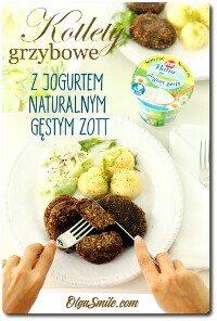 Kotlety grzybowe z jogurtem naturalnym gęstym Zott