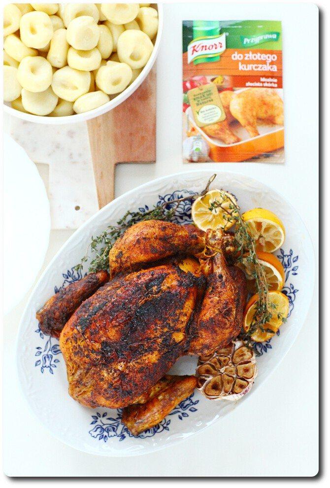 Kurczak pieczony w całości z przyprawą Knorr do złotego kurczaka