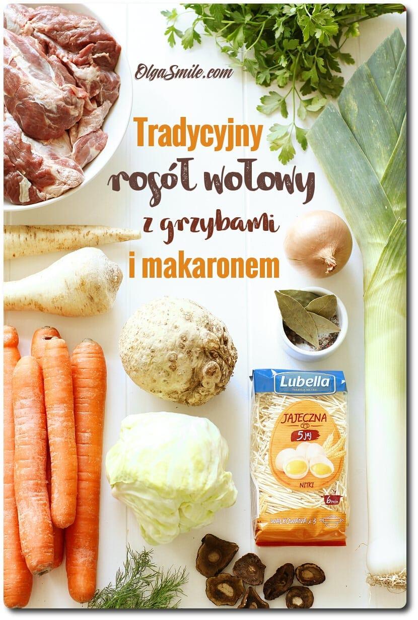 Tradycyjny rosół wołowy z grzybami i makaronem Lubella Jajeczna 5 jaj nitki