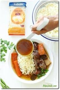 Tradycyjny rosół wołowy z grzybami i makaronem Lubella 5 jaj nitki