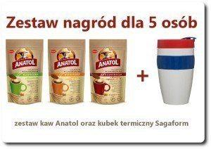 Zestaw nagród w konkursie kawy ANATOL