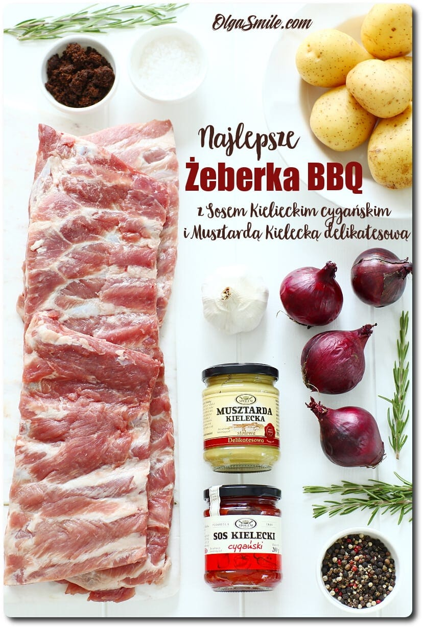 Żeberka BBQ z Sosem Kieleckim cygańskim oraz z Musztardą Kielecką delikatesową