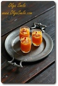 Amuse gueule – zupa dyniowa z brzoskwinią i cebulką